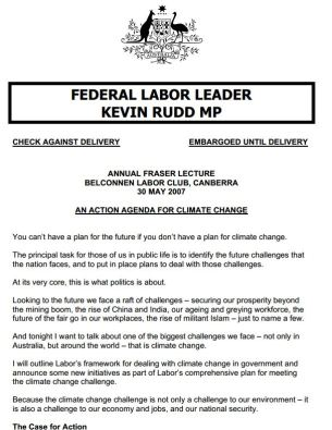 2007 05 30 rudd action agenda for climate change